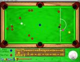 Snooker 147 Windows This screen shot shows the mouse cursor has changed to cross hairs and is being used to direct the cue ball to a red in the upper left of the screen