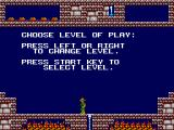 Montezuma's Revenge SEGA Master System Choose level of play