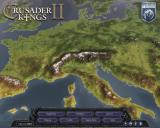 Crusader Kings II Windows Main Menu - Viewing terrain map of medieval Europe.