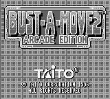 Bust-A-Move 2: Arcade Edition Game Boy Title screen