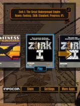 Lost Treasures of Infocom iPad Main menu with full library unlocked