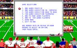 ABC Monday Night Football DOS Game selections menu (EGA/Tandy)
