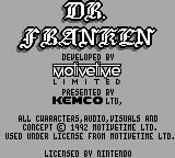 Dr. Franken Game Boy Title screen