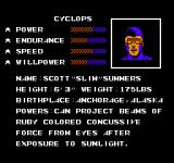 The Uncanny X-Men NES Character Selection Screen and biographies