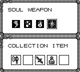 Castlevania Legends Game Boy Soul weapon and collected items screen