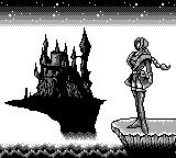 Castlevania Legends Game Boy Sonia poses at the background of Dracula's castle