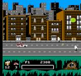 Ghostbusters II NES The Ecto-1A drives through town...