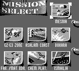 F-15 Strike Eagle Game Boy Mission select