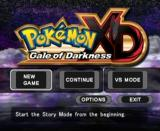 Pokémon XD: Gale of Darkness GameCube Main Menu.