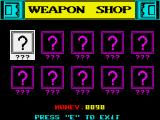 Future Bike Simulator ZX Spectrum weapon shop with... nothing.