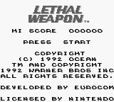 Lethal Weapon Game Boy Title screen