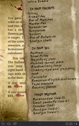 Blood of the Zombies Android Adventure sheet: in no time you'll find yourself carrying a lot of stuff