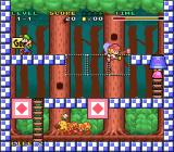 Mario & Wario SNES The first level is pretty basic, with no hazards. Note the similarity to Mario vs. Donkey Kong.