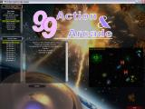 99 Action & Arcade Windows Up-Shooter. This shows the game being selected from the main menu. The game objectives and controls are shown in the central area.