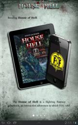 House of Hell Android Reading a Fighting Fantasy game book