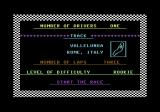 Pitstop II Commodore 64 Choose between 1 or 2 players, select a track and the numbers of loops here