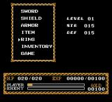 Ys: The Vanished Omens NES Menu