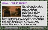 Spear End of Destiny DOS An excerpt from the story