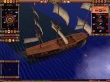 Age of Sail II: Privateer's Bounty Windows Zoomed into maximum you can see crew members aboard the ship attending to tasks.