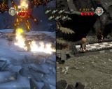 LEGO The Lord of the Rings Windows Split-screen two-player gameplay. While Gandalf is fighting Balrog, Sam must collect fish