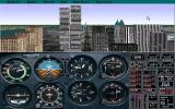 Microsoft New York: Scenery Enhancement for Microsoft Flight Simulator DOS The New York add-on contains some prepared flights designed to show off the city. This is flying over downtown Manhattan.