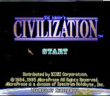 Sid Meier's Civilization SNES Title screen for the SNES version.