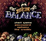 Keep the Balance! Game Boy Color Menu screen