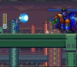 Mega Man X SNES Attacking a giant robot bug-thing.