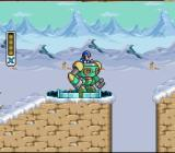 Mega Man X SNES Riding in a big robot suit.