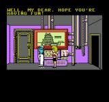 Maniac Mansion NES Cutscene: Dr. Fred is holding Sandy hostage.