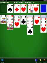 Solitaire iPad A game in progress. Gameplay is pretty straight forward, cards can be dragged and dropped to their location or they can be moved automatically with a single tap (v3.8.1).