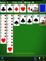 Solitaire iPad Here the HINT function has been used, it didn't find anything though so the player is in trouble (v3.8.1).