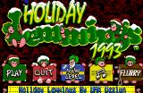 Holiday Lemmings Amiga Title screen with game options