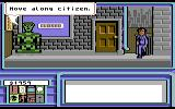 Neuromancer Commodore 64 Robots enforce loitering laws in the cyber-punk future apparently.