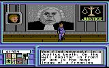 Neuromancer Commodore 64 It's the court system of the future! Since it is the 2050's, I'm guessing that Judge Judy retired a long time ago...