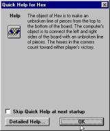 Hex Windows This optional help screen is displayed when the game starts