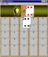 Poker Patience Windows The start of a game. Two cards are shown at the top of the screen and the player can select either one. This is a customisable option, the player can opt to show just a single card.