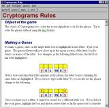 Cryptograms Windows The game has a detailed help file that opens in a new window