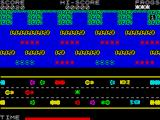 Froggy ZX Spectrum The cars on the bottom and top lane move slow while the sports cars move very quickly so good timing is essential for crossing the road.