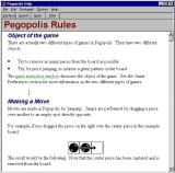 Pegopolis Windows A detailed help file is available to the player. It can be accessed via the menu bar.