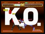 Garou: Mark of the Wolves Dreamcast Hotaru finishes Rock with her special move.