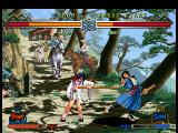 The Last Blade 2 Dreamcast Akari pushes Hibiki (new player) with her wand.