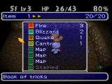 Chocobo's Dungeon 2 PlayStation Inventory screen: You can see or use the items you collected.