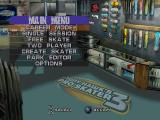 Tony Hawk's Pro Skater 3 PlayStation Main menu.