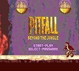 Pitfall: Beyond the Jungle Game Boy Color Title screen