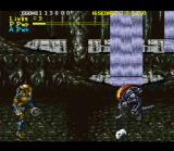 Alien Vs. Predator SNES An underground cavern with a waterfall. The Predator is about to throw a disk at an alien.