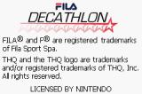 Fila Decathlon Game Boy Advance Title screen