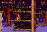 Puggsy Genesis Jumping through the trees in a forest level