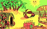Mickey's Runaway Zoo DOS The beach in CGA - Minnie just winks, but why doesn't she help?