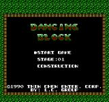 Dancing Block NES Main menu